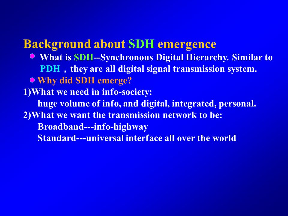 Background about SDH emergence What is SDH--Synchronous Digital Hierarchy.