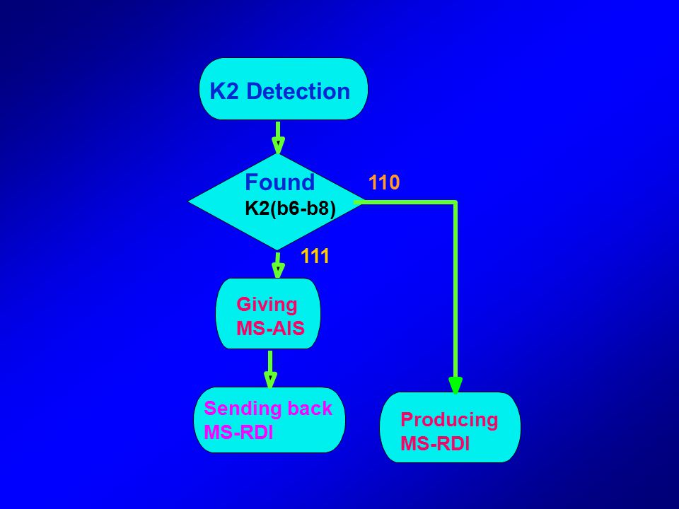 7) Automatic Protection Switching(APS) bytes---K1,K2 Carries APS protocol for MSP switching MS Remote Defect Indication byte: K2(b6-b8)=111, indicates