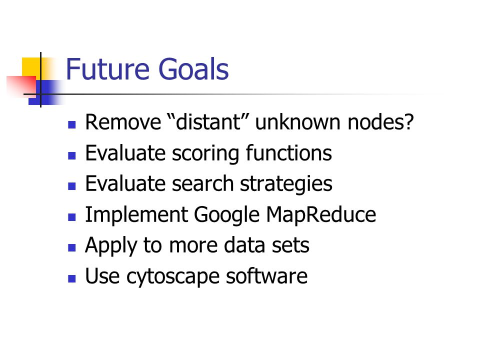 Future Goals Remove distant unknown nodes.