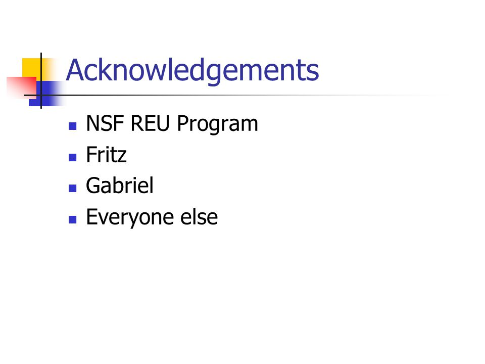 Acknowledgements NSF REU Program Fritz Gabriel Everyone else