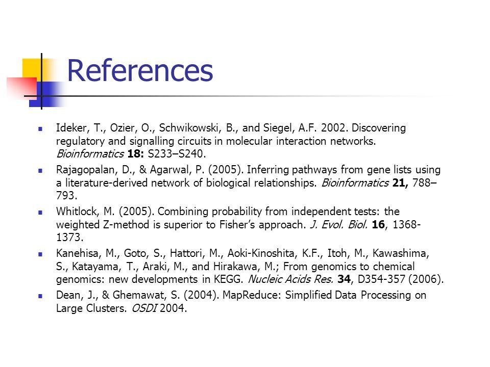 References Ideker, T., Ozier, O., Schwikowski, B., and Siegel, A.F.