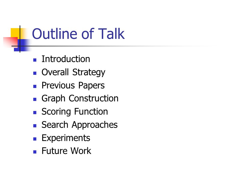 Outline of Talk Introduction Overall Strategy Previous Papers Graph Construction Scoring Function Search Approaches Experiments Future Work