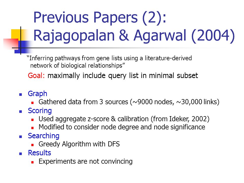 Previous Papers (2): Rajagopalan & Agarwal (2004) Goal: maximally include query list in minimal subset Graph Gathered data from 3 sources (~9000 nodes