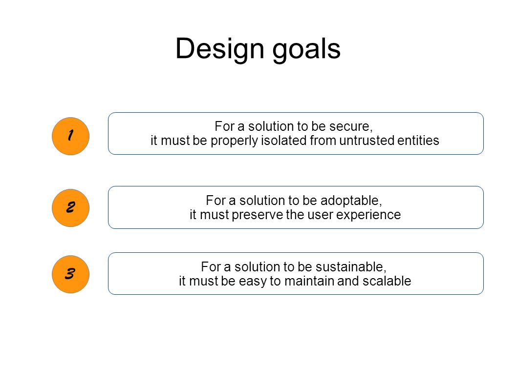 Design goals 1 2 3 For a solution to be secure, it must be properly isolated from untrusted entities For a solution to be adoptable, it must preserve the user experience For a solution to be sustainable, it must be easy to maintain and scalable