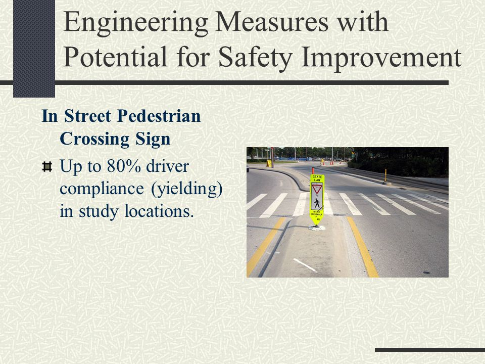 Engineering Measures with Potential for Safety Improvement In Street Pedestrian Crossing Sign Up to 80% driver compliance (yielding) in study locations.
