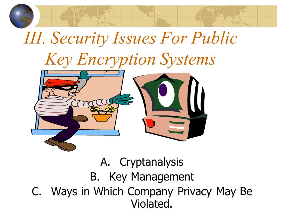 III. Security Issues For Public Key Encryption Systems A.Cryptanalysis B.Key Management C.Ways in Which Company Privacy May Be Violated.
