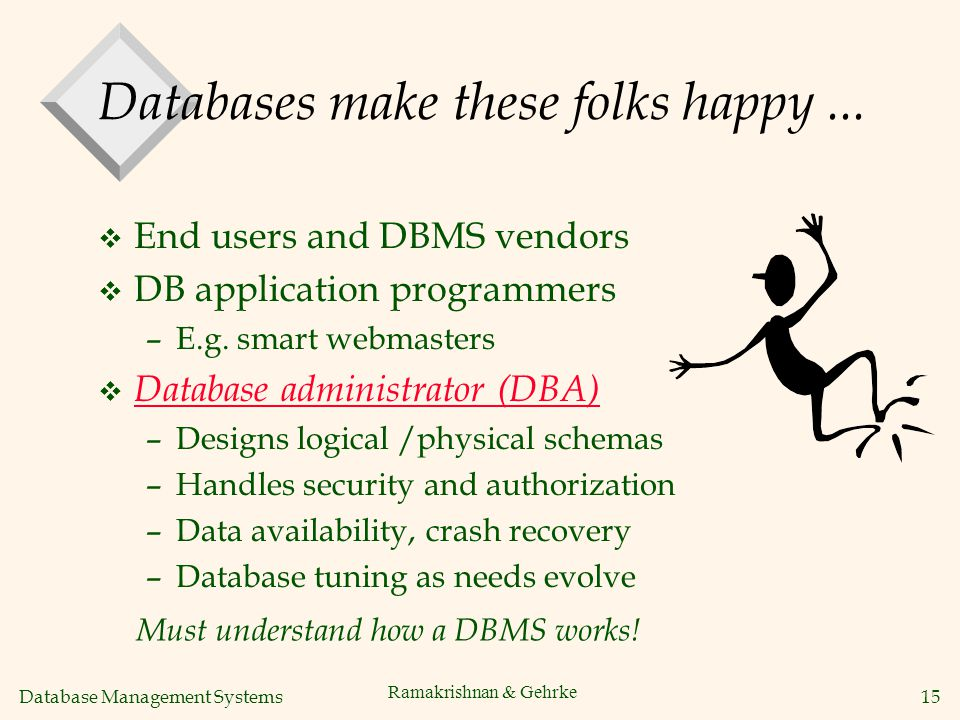 Database Management Systems 15 Ramakrishnan & Gehrke Databases make these folks happy...
