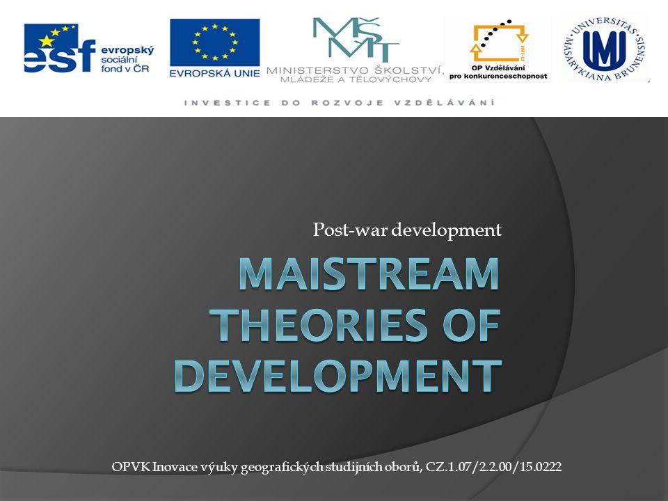 Post-war development OPVK Inovace výuky geografických studijních oborů, CZ.1.07/2.2.00/15.0222