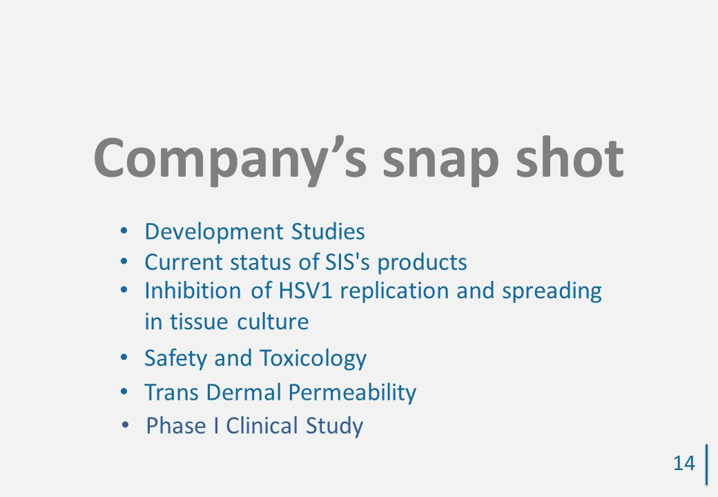 Company's snap shot Development Studies Current status of SIS s products Inhibition of HSV1 replication and spreading in tissue culture Safety and Toxicology Trans Dermal Permeability 14 Phase I Clinical Study