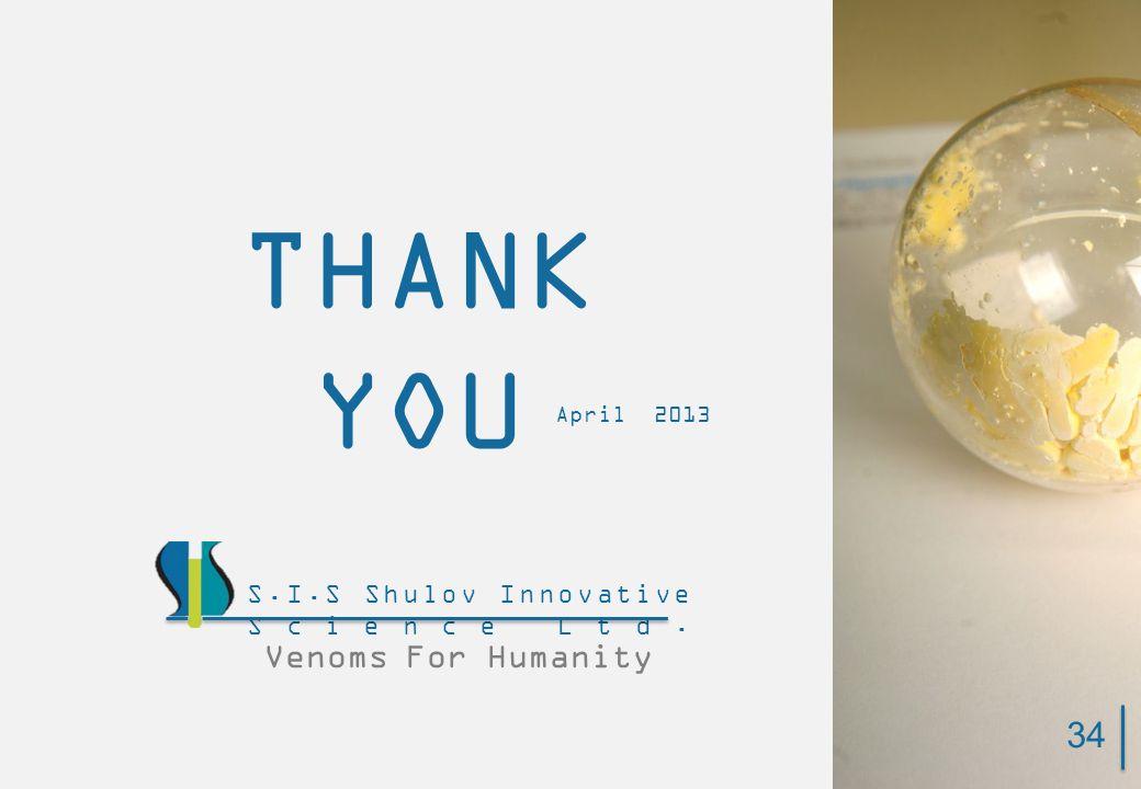THANK YOU Venoms For Humanity S.I.S Shulov Innovative Science Ltd. April 2013 34
