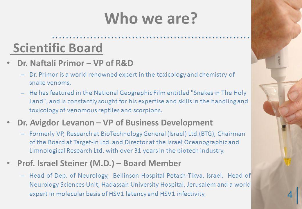 Dr. Naftali Primor – VP of R&D – Dr.