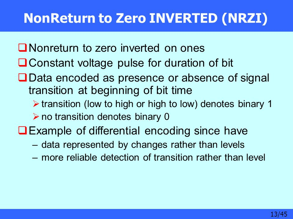 13/45 NonReturn to Zero INVERTED (NRZI)  Nonreturn to zero inverted on ones  Constant voltage pulse for duration of bit  Data encoded as presence o