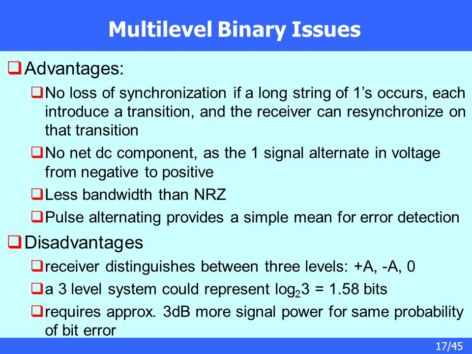 17/45 Multilevel Binary Issues  Advantages:  No loss of synchronization if a long string of 1's occurs, each introduce a transition, and the receive