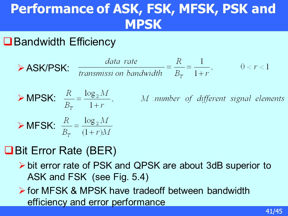 41/45 Performance of ASK, FSK, MFSK, PSK and MPSK  Bandwidth Efficiency  ASK/PSK:  MPSK:  MFSK:  Bit Error Rate (BER)  bit error rate of PSK and