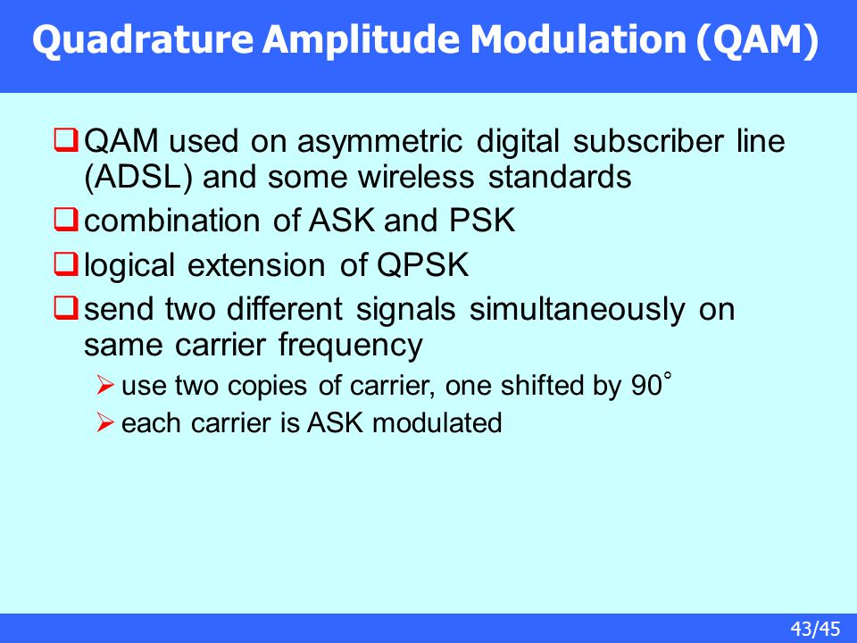 43/45 Quadrature Amplitude Modulation (QAM)  QAM used on asymmetric digital subscriber line (ADSL) and some wireless standards  combination of ASK a
