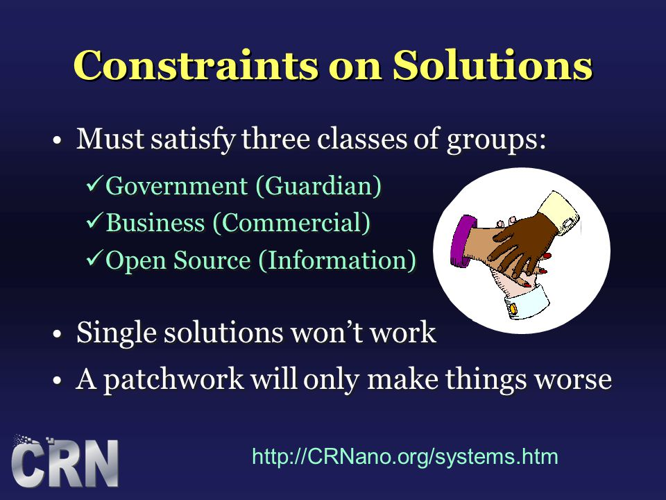 Constraints on Solutions Must satisfy three classes of groups: Government (Guardian) Business (Commercial) Open Source (Information) Single solutions