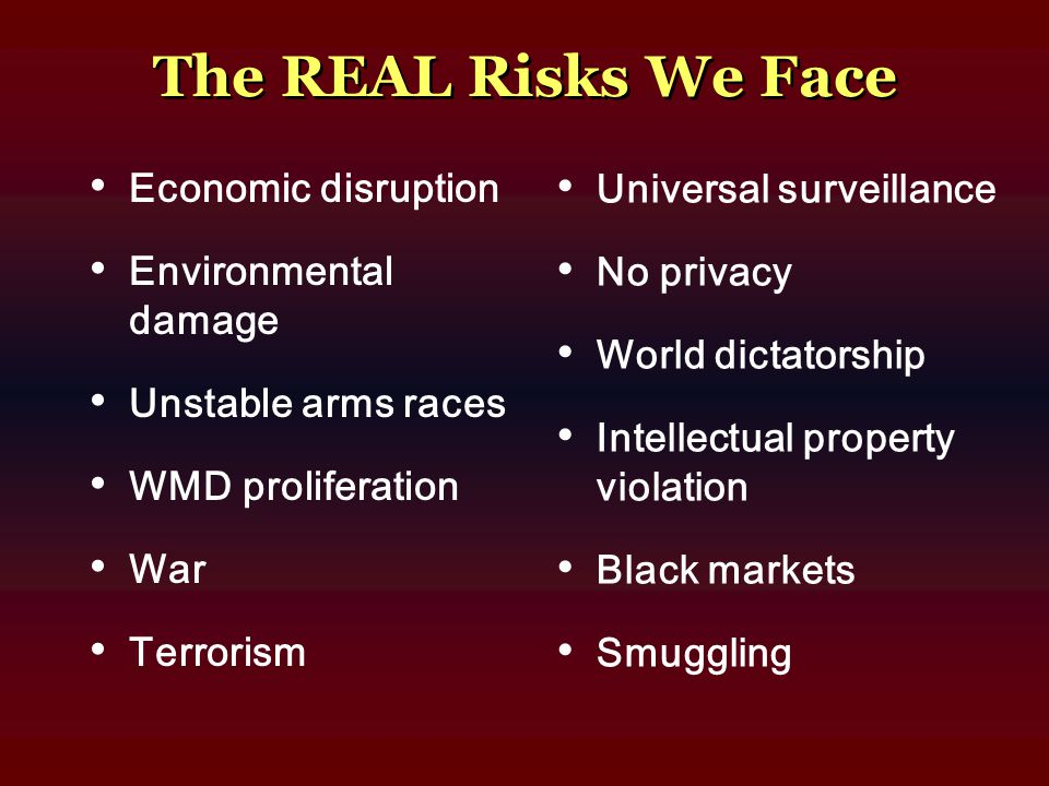 The REAL Risks We Face Economic disruption Environmental damage Unstable arms races WMD proliferation War Terrorism Universal surveillance No privacy
