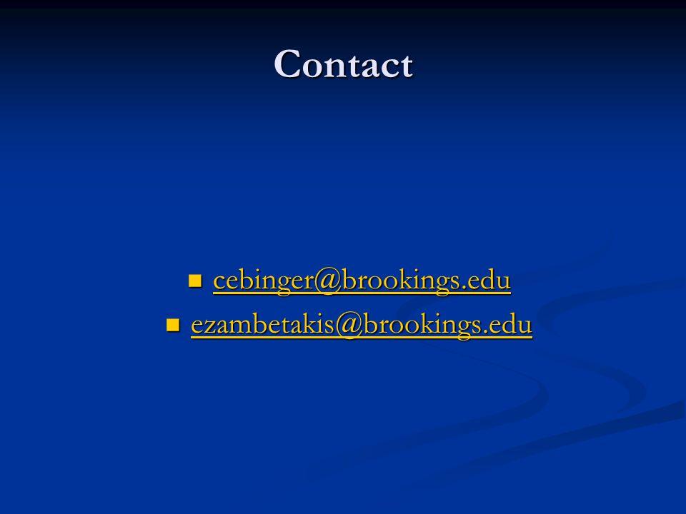 Contact cebinger@brookings.edu cebinger@brookings.edu cebinger@brookings.edu ezambetakis@brookings.edu ezambetakis@brookings.edu ezambetakis@brookings.edu