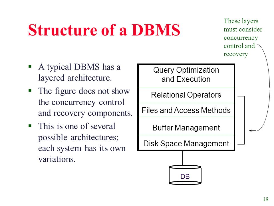 18 Structure of a DBMS  A typical DBMS has a layered architecture.