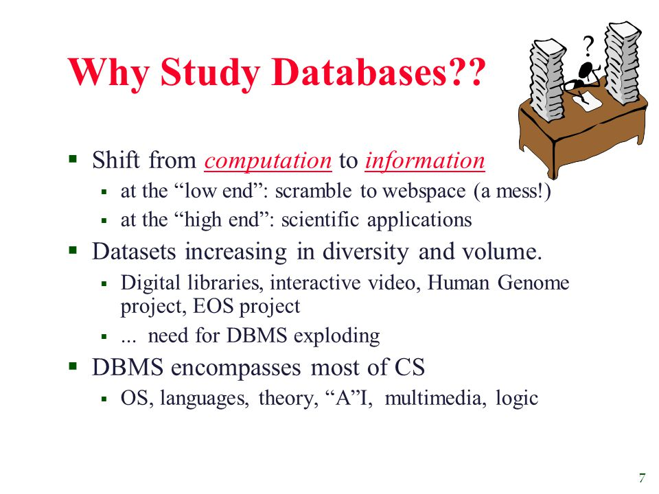7 Why Study Databases .