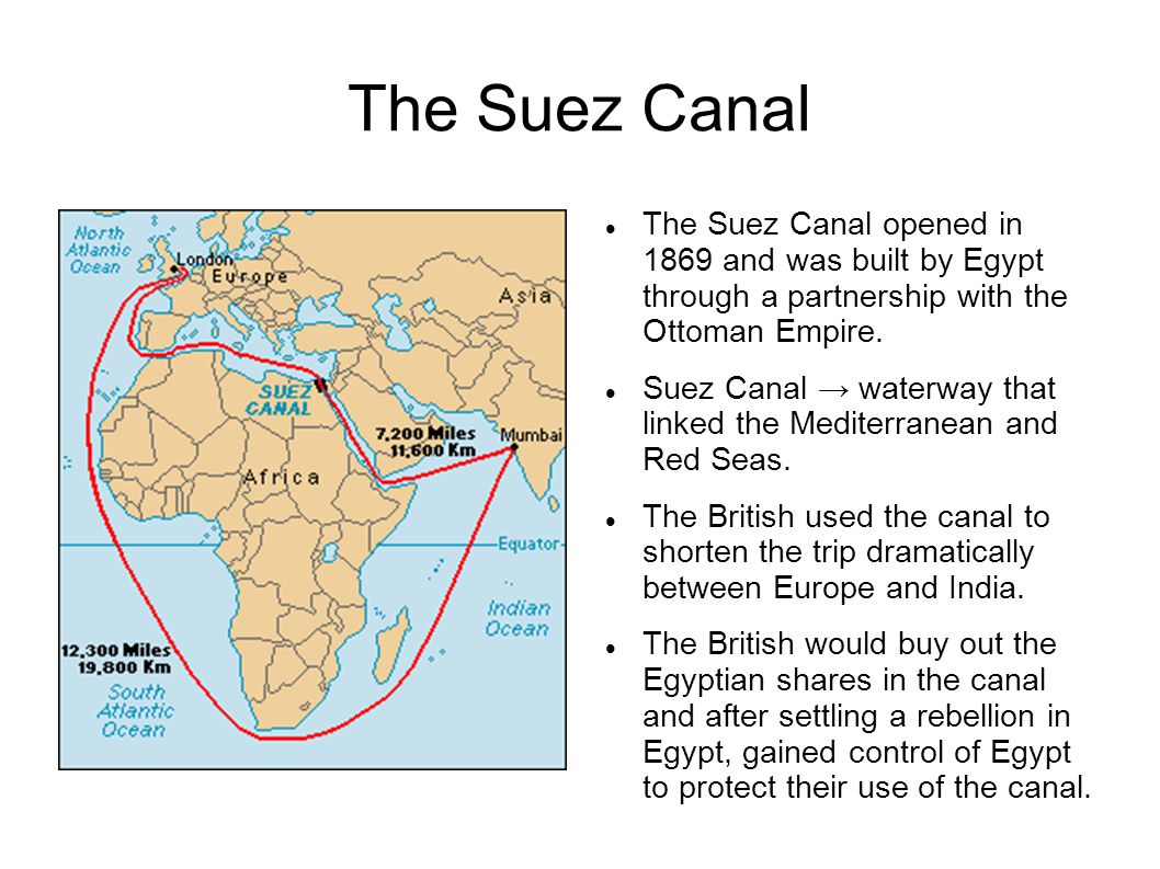 The Suez Canal The Suez Canal opened in 1869 and was built by Egypt through a partnership with the Ottoman Empire. Suez Canal → waterway that linked t