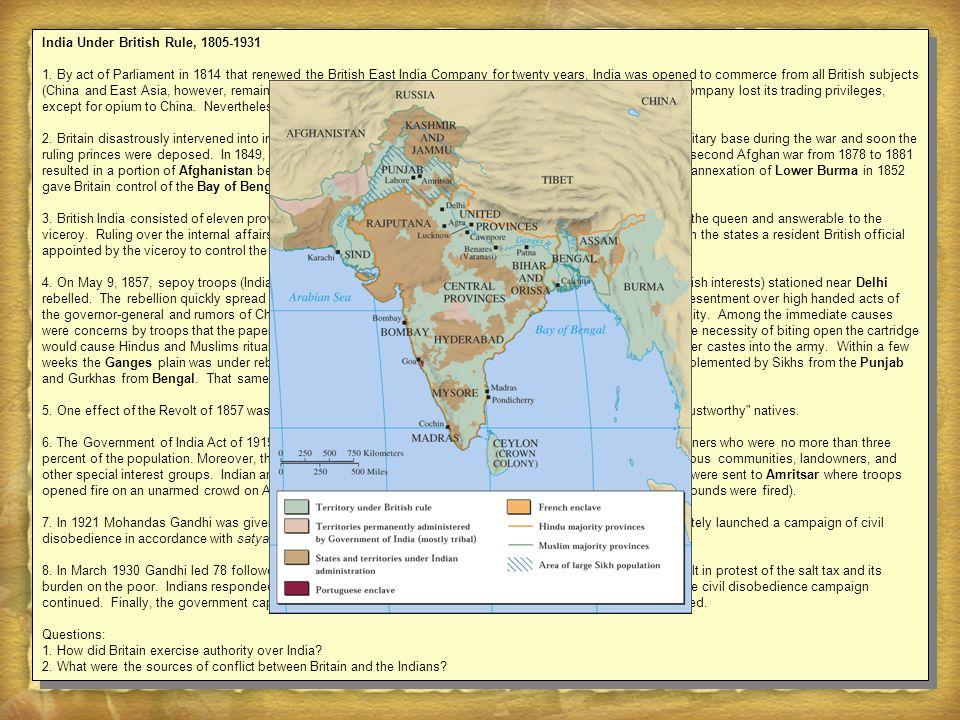 India Under British Rule, 1805-1931 1.