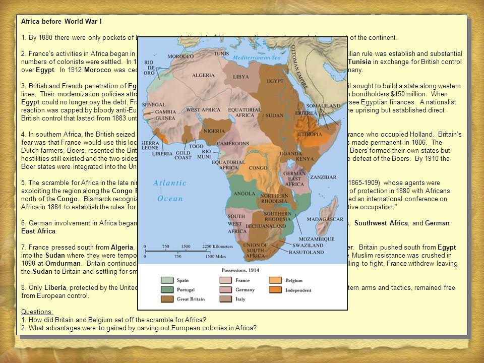 Africa before World War I 1.