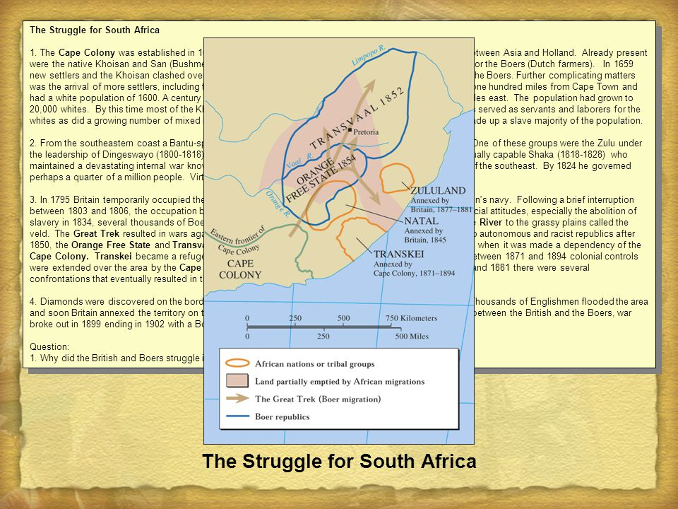 äColonial economic policy FGlobal economic market FLaw of the marketplace FGrowth of an urban economy äSocial and cultural change FAfrikaners in South Africa FElites copy European