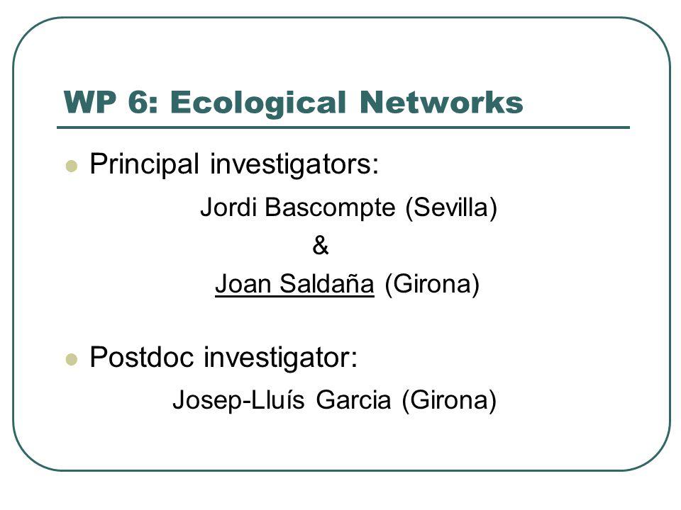 WP 6: Ecological Networks Principal investigators: Jordi Bascompte (Sevilla) & Joan Saldaña (Girona) Postdoc investigator: Josep-Lluís Garcia (Girona)