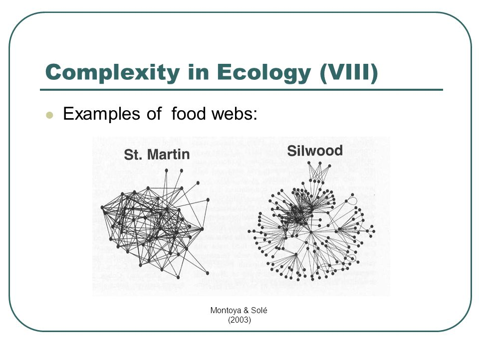 Complexity in Ecology (VIII) Examples of food webs: Montoya & Solé (2003)