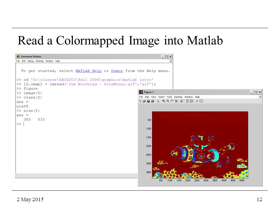 Read a Colormapped Image into Matlab 2 May 201512