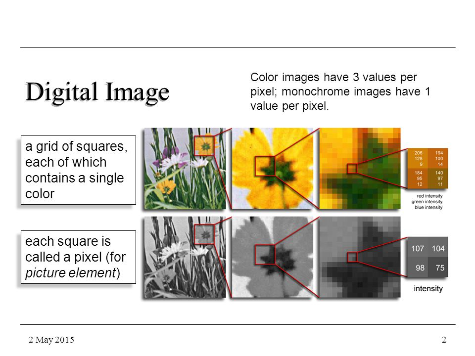 Digital Image a grid of squares, each of which contains a single color each square is called a pixel (for picture element) Color images have 3 values