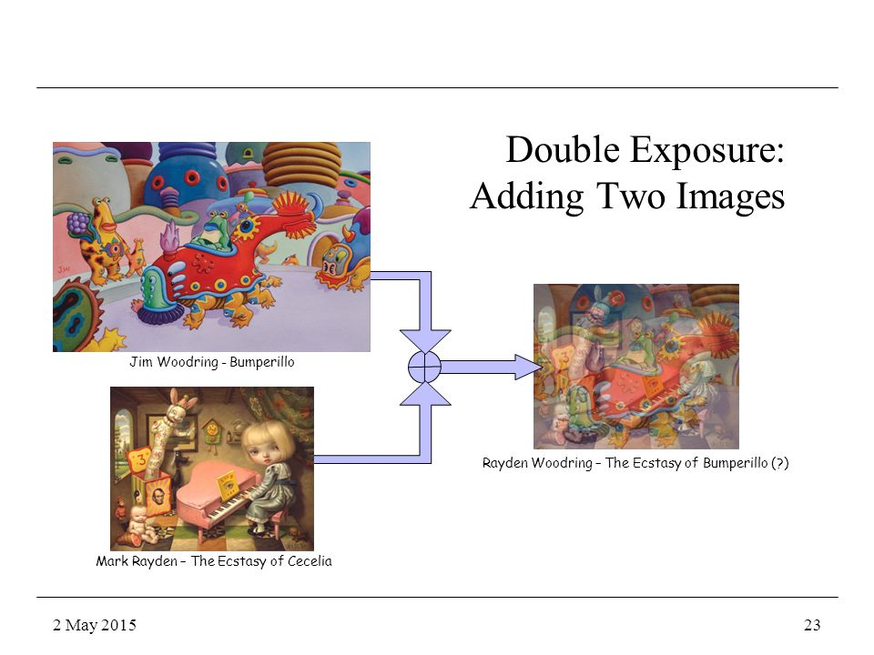 Jim Woodring - Bumperillo Mark Rayden – The Ecstasy of Cecelia Double Exposure: Adding Two Images Rayden Woodring – The Ecstasy of Bumperillo ( ) 2 May 201523