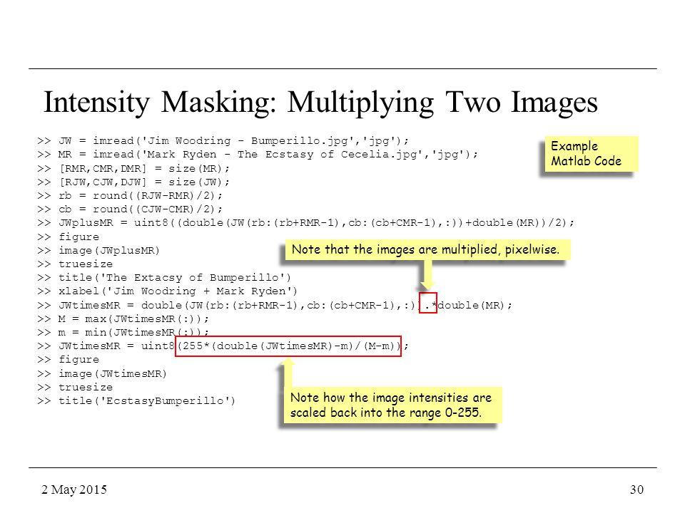 Intensity Masking: Multiplying Two Images >> JW = imread('Jim Woodring - Bumperillo.jpg','jpg'); >> MR = imread('Mark Ryden - The Ecstasy of Cecelia.j