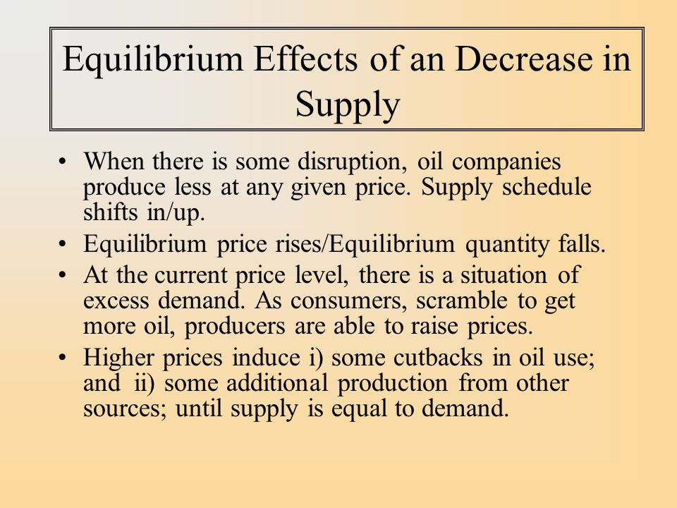 Equilibrium Effects of an Decrease in Supply When there is some disruption, oil companies produce less at any given price.