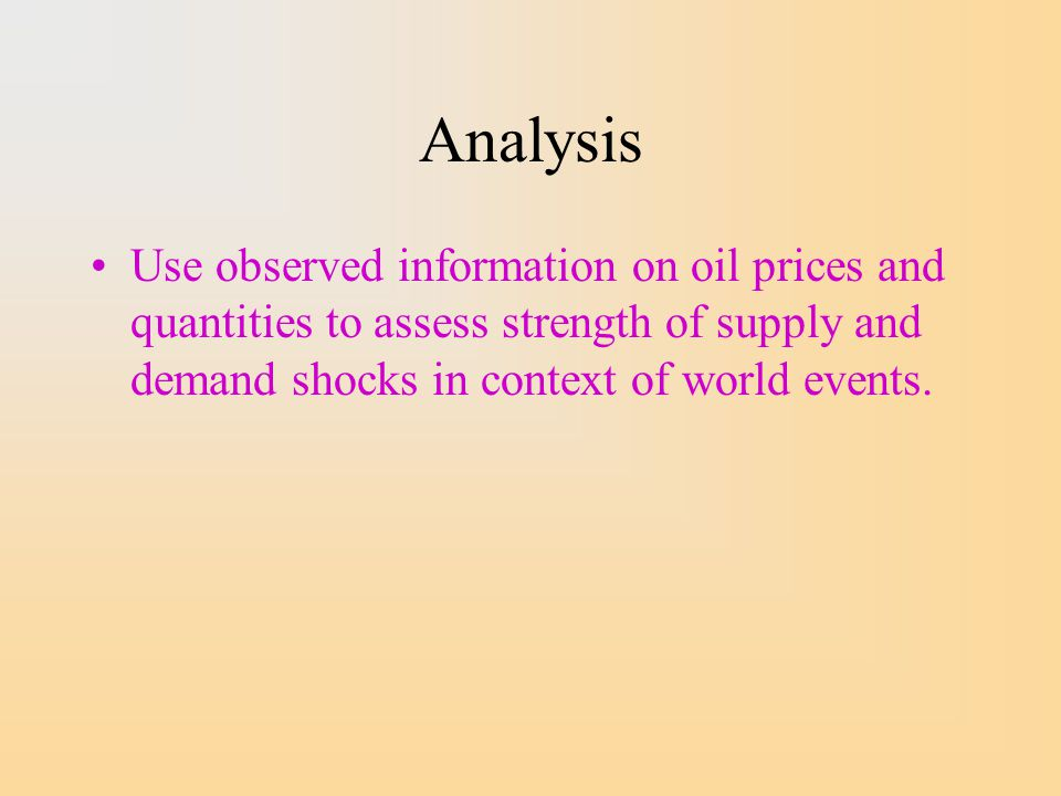 Analysis Use observed information on oil prices and quantities to assess strength of supply and demand shocks in context of world events.
