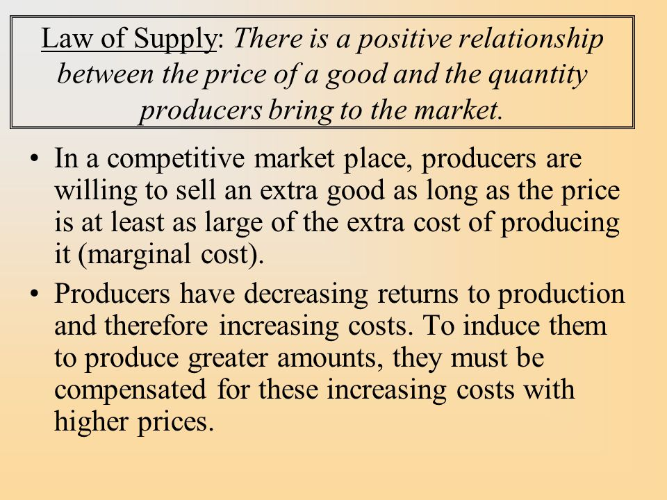Law of Supply: There is a positive relationship between the price of a good and the quantity producers bring to the market.