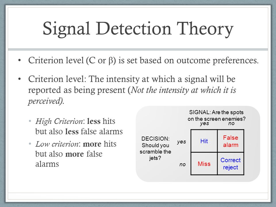 Signal Detection Theory Hit False alarm Miss Correct reject yes no SIGNAL: Are the spots on the screen enemies.
