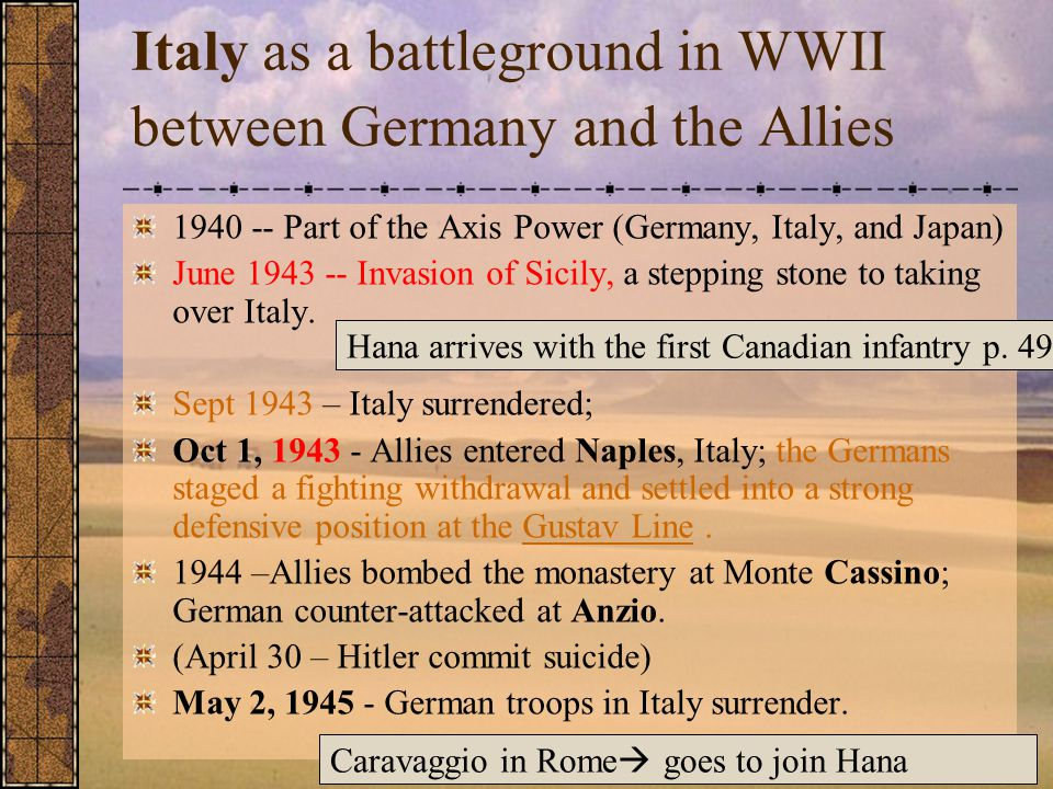 Italy as a battleground in WWII between Germany and the Allies 1940 -- Part of the Axis Power (Germany, Italy, and Japan) June 1943 -- Invasion of Sicily, a stepping stone to taking over Italy.