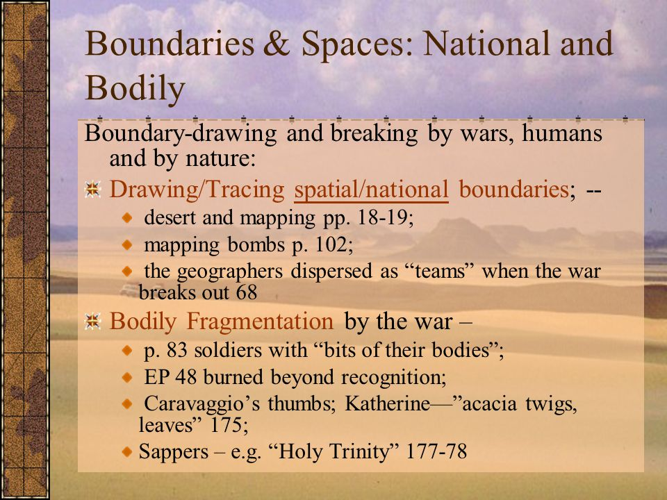 Boundaries & Spaces: National and Bodily Boundary-drawing and breaking by wars, humans and by nature: Drawing/Tracing spatial/national boundaries; -- desert and mapping pp.