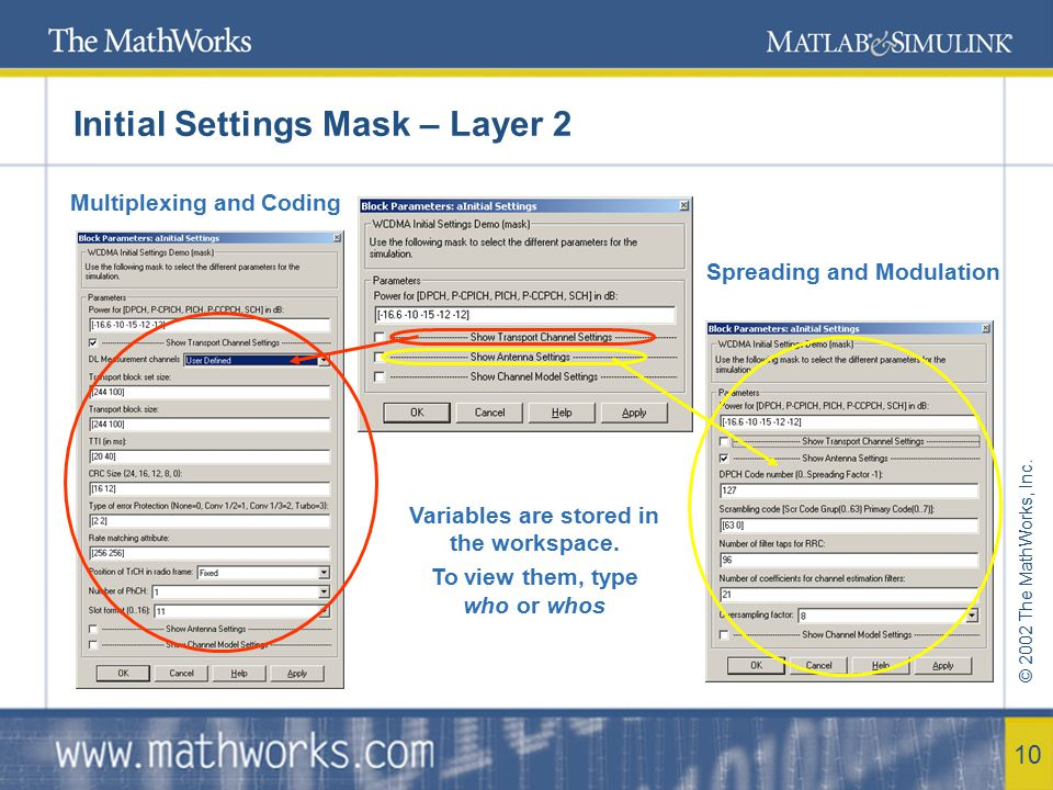 © 2002 The MathWorks, Inc. 10 Initial Settings Mask – Layer 2 Multiplexing and Coding Spreading and Modulation Variables are stored in the workspace.
