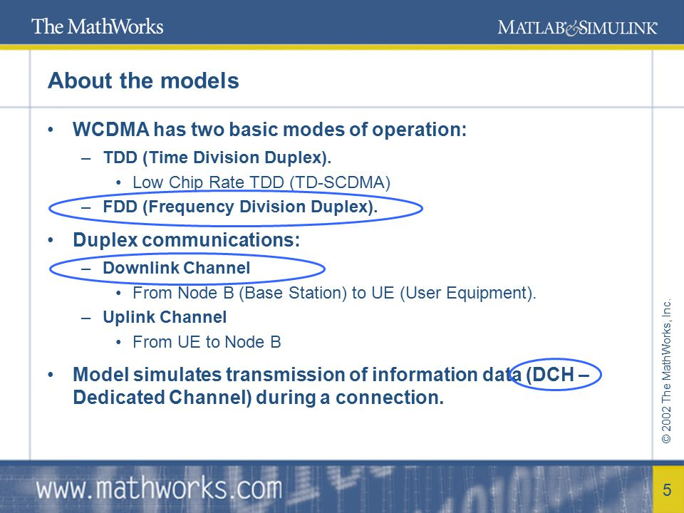 © 2002 The MathWorks, Inc. 5 About the models WCDMA has two basic modes of operation: –TDD (Time Division Duplex). Low Chip Rate TDD (TD-SCDMA) –FDD (