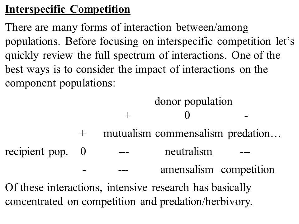 Interspecific Competition There are many forms of interaction between/among populations.