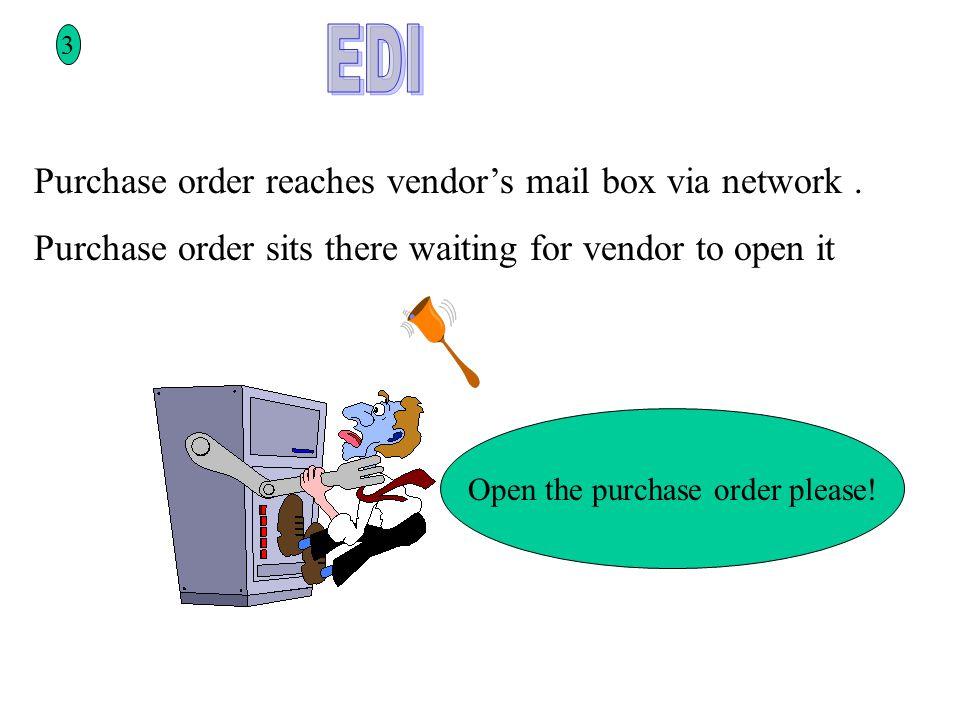 3 Purchase order reaches vendor's mail box via network.