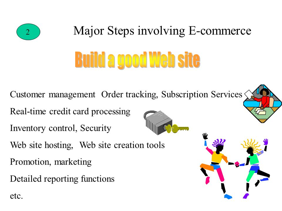 2 Customer management Order tracking, Subscription Services Real-time credit card processing Inventory control, Security Web site hosting, Web site creation tools Promotion, marketing Detailed reporting functions etc.