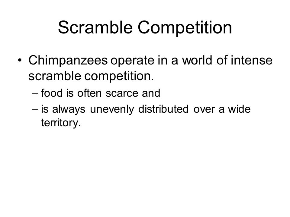 Scramble Competition Chimpanzees operate in a world of intense scramble competition.