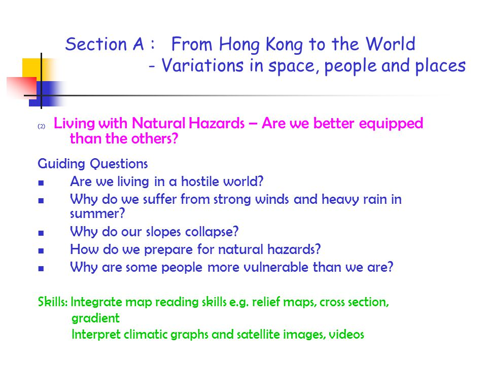 Section A : From Hong Kong to the World - Variations in space, people and places (2) Living with Natural Hazards – Are we better equipped than the others.