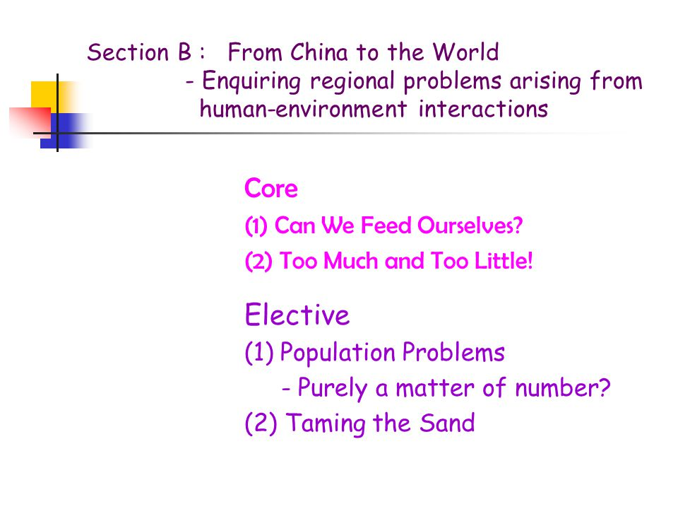 Section B : From China to the World - Enquiring regional problems arising from human-environment interactions Core (1) Can We Feed Ourselves.