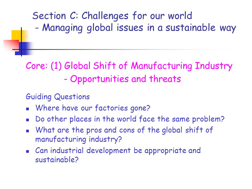 Section C: Challenges for our world - Managing global issues in a sustainable way Core: (1) Global Shift of Manufacturing Industry - Opportunities and threats Guiding Questions Where have our factories gone.