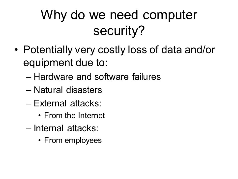 Disaster prevention and recovery Disaster scenarios Backup/restore procedures Network fault tolerance Attack protection: –Network-based intrusion detection Detect dangers coming into our network from the outside and going from our network to the outside –Host-based intrusion detection Detect tampering with individual hosts